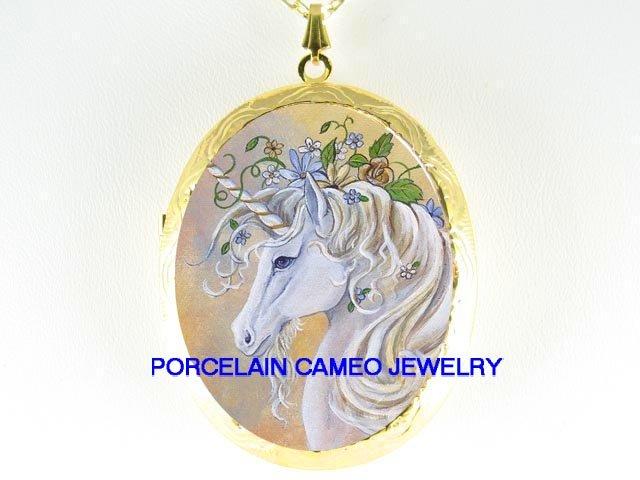 WHITE UNICORN HORSE ROSE PORCELAIN CAMEO LOCKET NECKLACE
