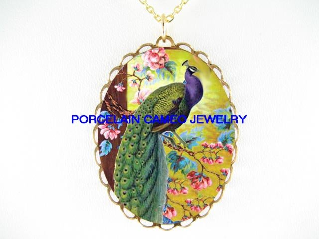 PURPLE PEACOCK CHERRY BLOSSOMS  * CAMEO PORCELAIN NECKLACE