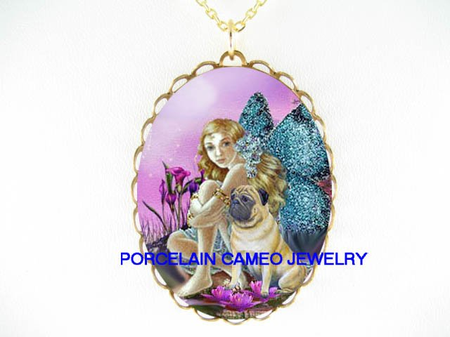 PUG DOG BUTTERFLY FAIRY CALLA LILY WATER LILY NECKLACE