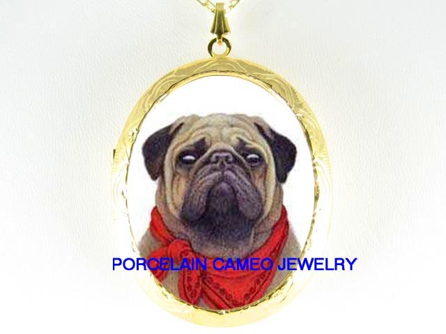 PUG DOG BOY SCOUT *  CAMEO PORCELAIN LOCKET NECKLACE