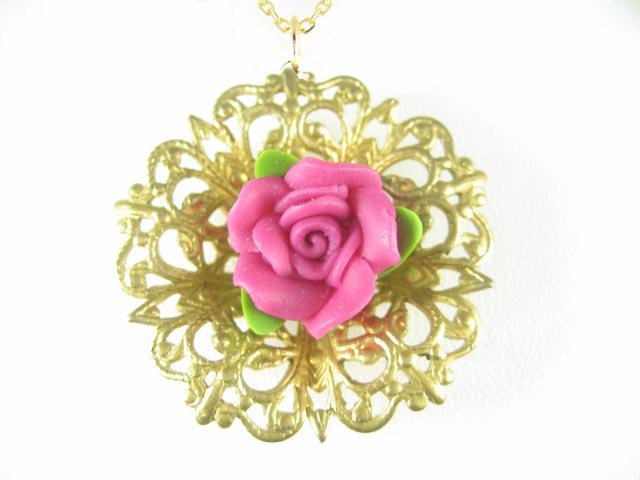 PINK PORCELAIN 3D ROSE VINTAGE HEART FILIGREE NECKLACE