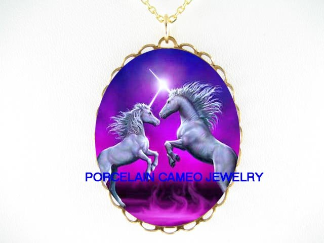 UNICORN HORSE FIRE PORCELAIN CAMEO PENDANT NECKLACE