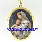 BLESSED VIRGIN MARY BABY JESUS LAMB PORCELAIN CAMEO LOCKET NK