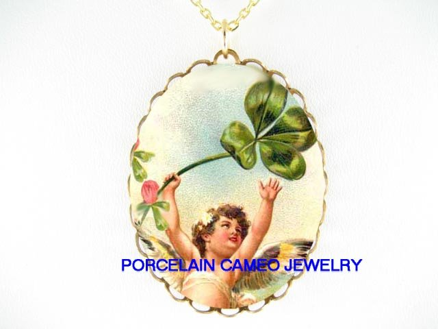 IRISH SHAMROCK ANGEL CHERUB * CAMEO PORCELAIN NECKLACE
