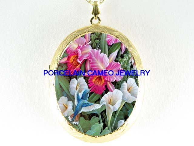 HUMMINGBIRD IRIS CALLA LILY PORCELAIN CAMEO LOCKET NECKLACE