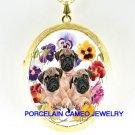 3 PUG DOG PUPPY DOG COLORFUL PANSY*  CAMEO PORCELAIN LOCKET NECKLACE