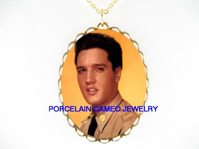 ELVIS PRESLEY IN UNIFORM* CAMEO PORCELAIN NECKLACE