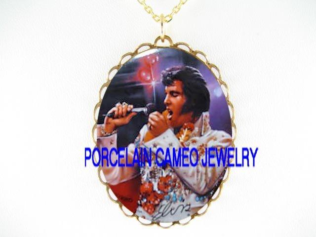 ELVIS PRESLEY SINGING* CAMEO PORCELAIN NECKLACE