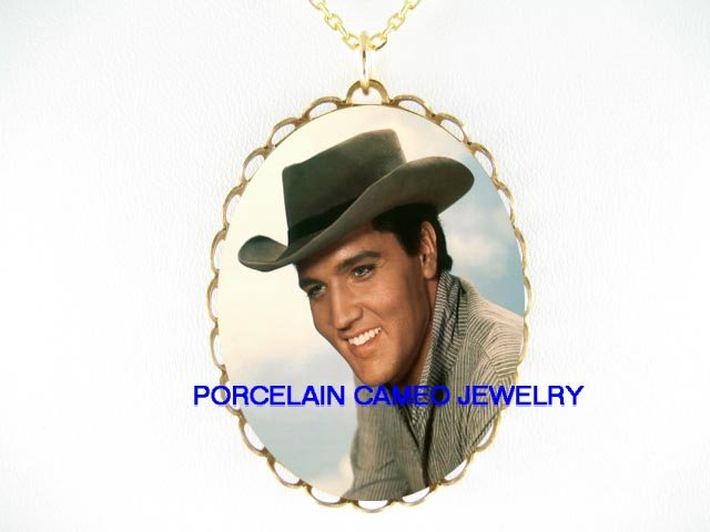 COWBOY ELVIS PRESLEY * CAMEO PORCELAIN NECKLACE