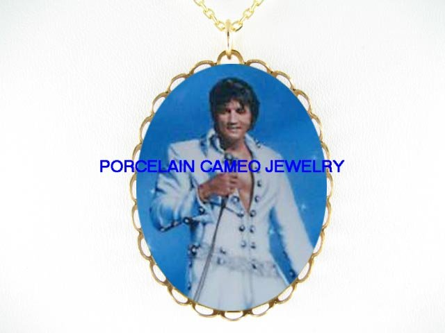 BLUE ELVIS PRESLEY CAMEO PORCELAIN PENDANT NECKLACE