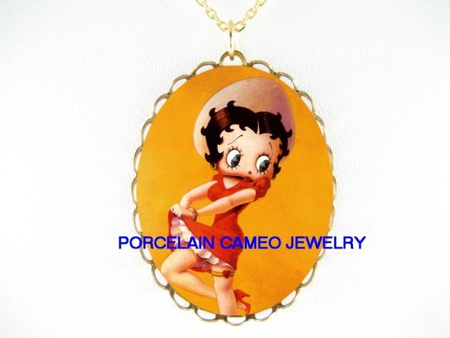 SEXY RED DRESS BETTY BOOP * CAMEO PORCELAIN NECKLACE