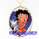 PUPPY KISSING BETTY BOOP * CAMEO PORCELAIN NECKLACE