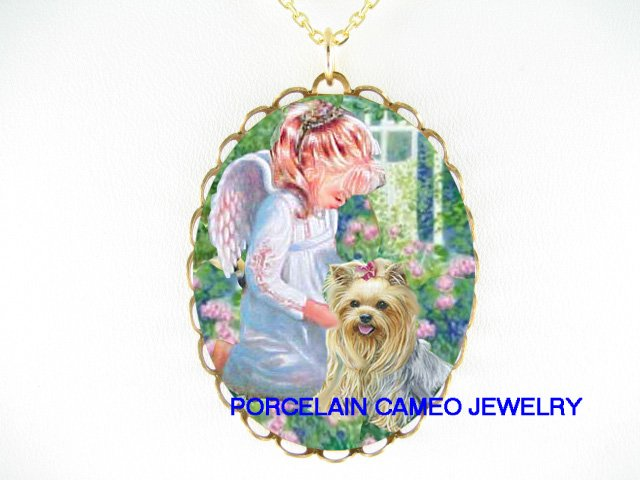 ANGEL COMFORT YORKSHIRE DOG CAMEO PORCELAIN NECKLACE