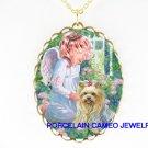 ANGEL COMFORT YORKSHIRE DOG CAMEO PORCELAIN NECKLACE