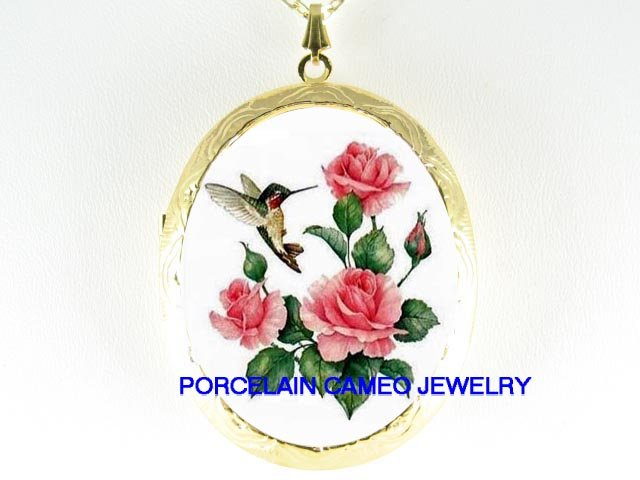 HUMMINGBIRD PINK ROSE CAMEO PORCELAIN LOCKET NECKLACE