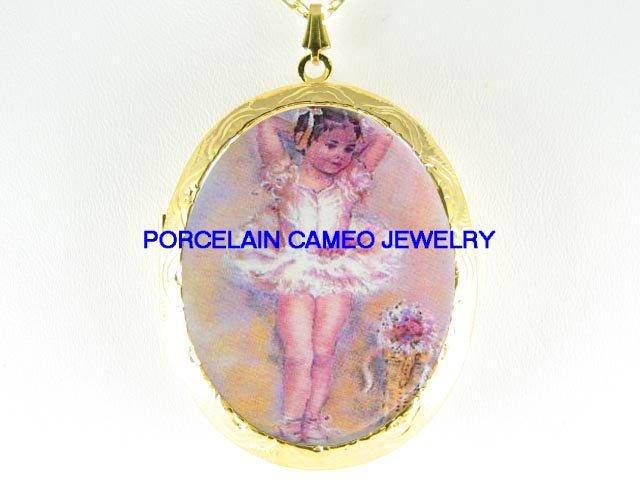 CHILD KID GIRL BALLERINA  *  CAMEO PORCELAIN LOCKET NECKLACE
