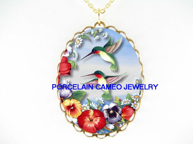 2 HUMMINGBIRD HIBISCUS PANSY* CAMEO PORCELAIN NECKLACE