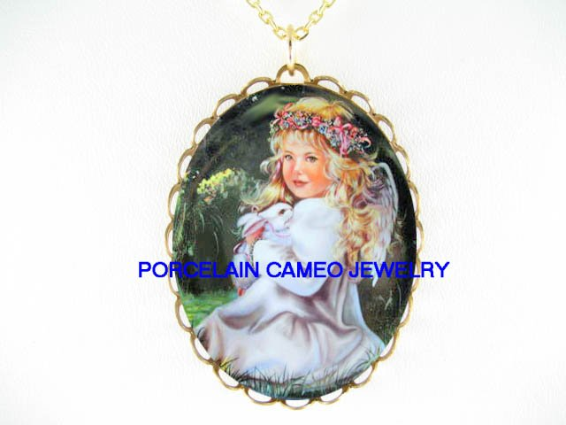 ANGEL HOLDING WHITE RABBIT BUNNY* CAMEO PORCELAIN NECKLACE