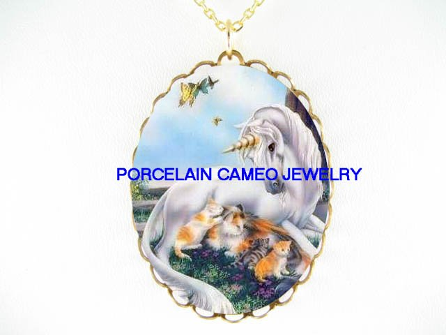 UNICORN HORSE CUDDLE KITTY CAT BUTTERFLY CAMEO NECKLACE