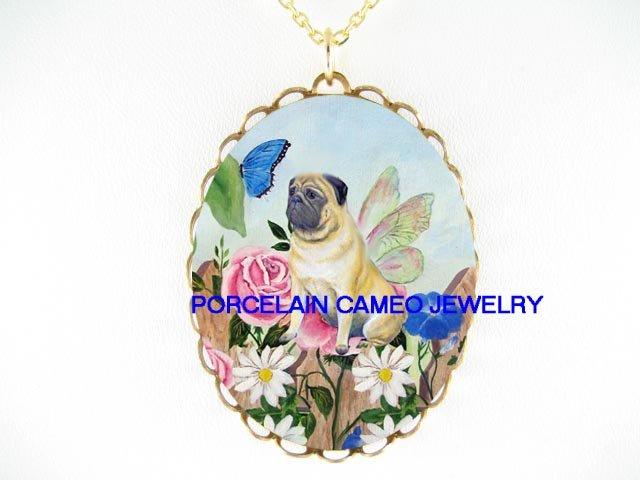 BUTTERFLY FAIRY PUG DOG ROSE DAISY PORCELAIN NECKLACE