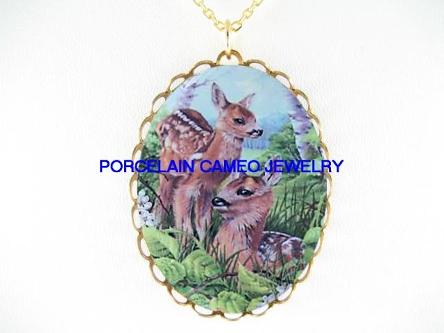2 DEER DOE FAWN FAMILY * CAMEO PORCELAIN NECKLACE