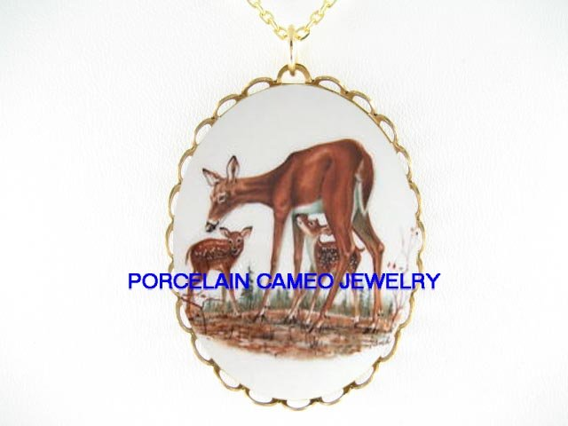 3 DEER DOE FAWN FAMILY * CAMEO PORCELAIN NECKLACE