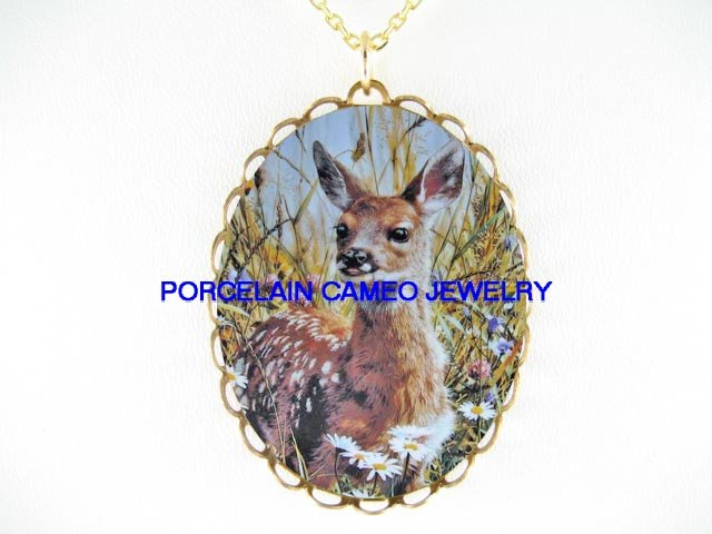 SMILING DEER  FAWN WITH DAISY THISTLE * CAMEO PORCELAIN NECKLACE