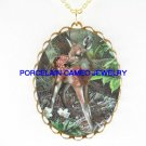 BABY DEER FAWN FLOWER* CAMEO PORCELAIN NECKLACE