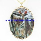 DEER NEAR WATERFALL FOREST * CAMEO PORCELAIN NECKLACE