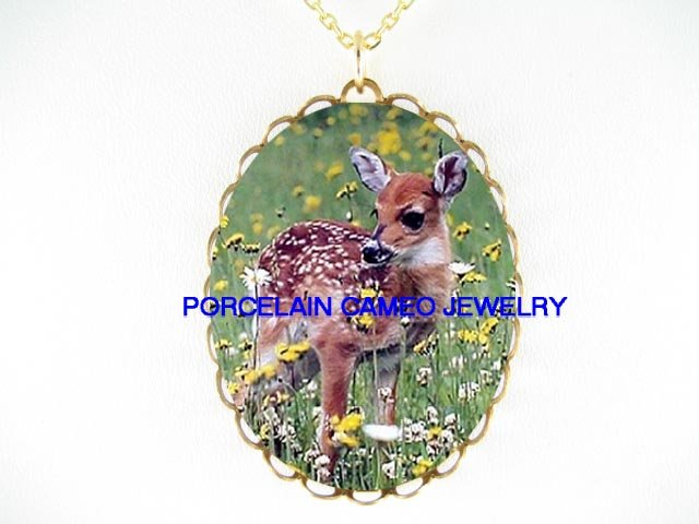 BABY DEER FAWN WILD DAISY  * CAMEO PORCELAIN NECKLACE