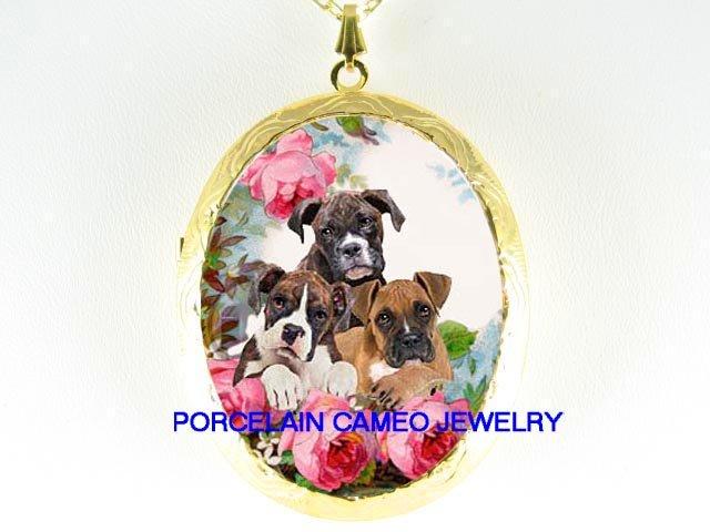 3 BOXER PUPPY DOG COLLAGE ROSE CAMEO PORCELAIN LOCKET