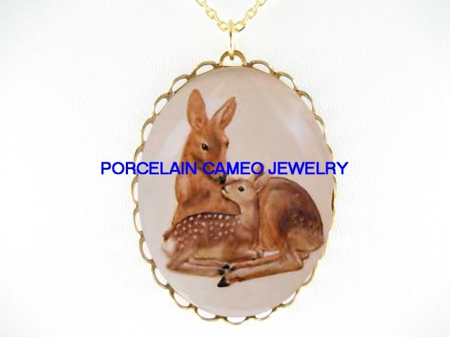 MOTHER DEER KISSING BABY FAWN * CAMEO PORCELAIN NECKLACE