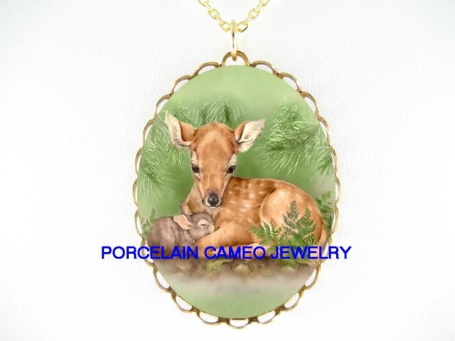BABY FAWN CUDDLING RABBIT BUNNY* CAMEO PORCELAIN NECKLACE