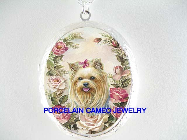 YORKSHIRE TERRIER SPRING ROSE PORCELAIN CAMEO LOCKET NK