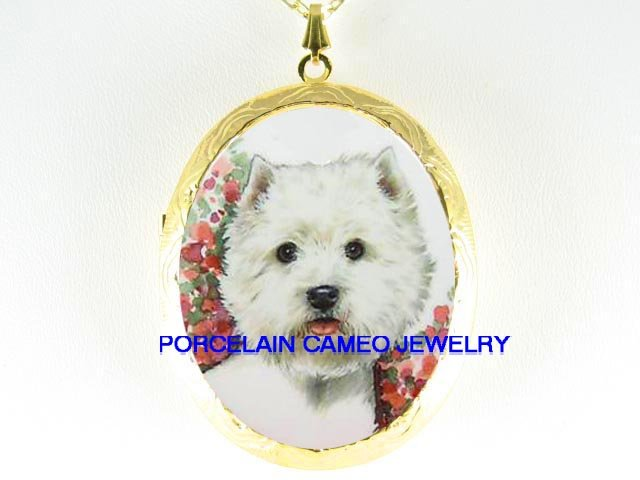 SMILING WESTIE WHITE TERRIER DOG CAMEO LOCKET NECKLACE