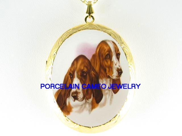 2 SWEET BASSET HOUND DOG *  CAMEO PORCELAIN LOCKET NECKLACE