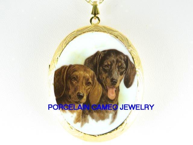 2 SMILING DACHSHUND DOG *  CAMEO PORCELAIN LOCKET NECKLACE