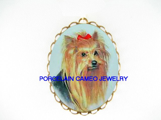 SWEET YORKSHIRE TERRIER DOG *  CAMEO PORCELAIN PENDANT/PIN BROOCH