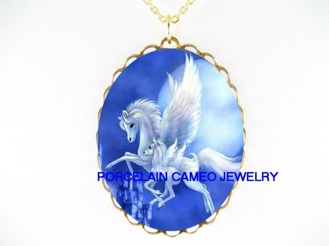 2 PEGASUS HORSE MARE FOAL CASTLE MOON CAMEO NECKLACE
