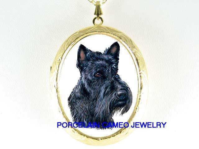 SCOTTISH TERRIER DOG PORCELAIN CAMEO LOCKET NECKLACE