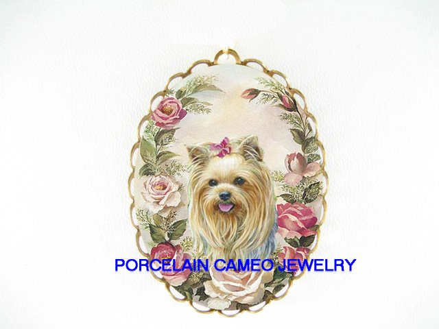 YORKSHIRE TERRIER SPRING ROSE PORCELAIN CAMEO PIN BROOCH
