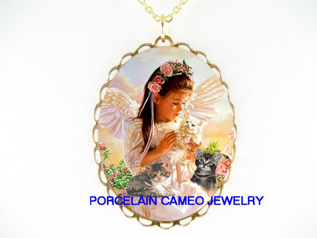 ANGEL WITH KITTY CAT ROSE* CAMEO PORCELAIN NECKLACE