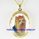 YORKSHIRE TERRIER DOG CAMEO PORCELAIN SMALL LOCKET