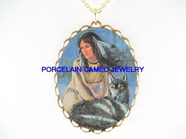 NATIVE AMERICAN INDIAN LADY MAIDEN WOLF CAMEO NECKLACE