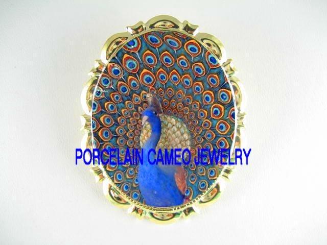 MOSAIC GOLDEN PEACOCK PORCELAIN CAMEO  PIN BROOCH