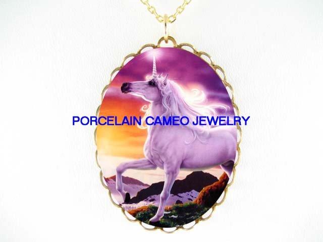 PURPLE UNICORN HORSE* CAMEO PORCELAIN NECKLACE