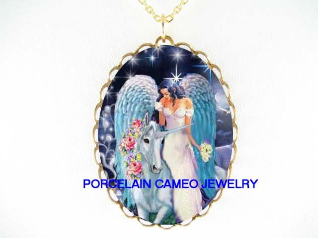 ROSE UNICORN HORSE WITH ANGEL CAMEO PORCELAIN NECKLACE