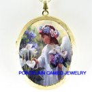 CALLA LILY ANGEL GIRL PORCELAIN CAMEO LOCKET NECKLACE
