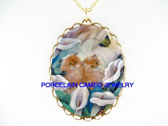 KITTY CAT CHASING BUTTERFLY CALLA LILY* CAMEO PORCELAIN NECKLACE