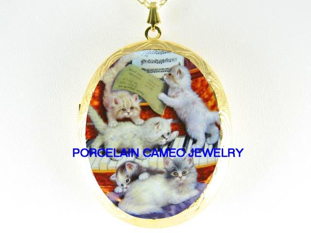 KITTY CAT COLLAGE PLAY PIANO CAMEO PORCELAIN LOCKET NK